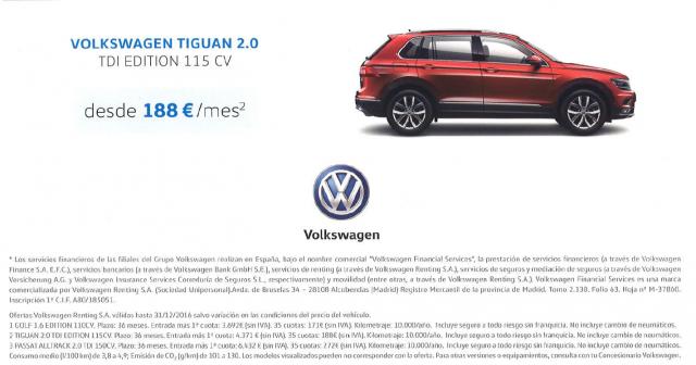 Nuevo Volkswagen Tiguan desde 188 euros al mes* !!!