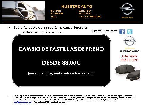 Cambio de PASTILLAS de FRENO desde 88,00€