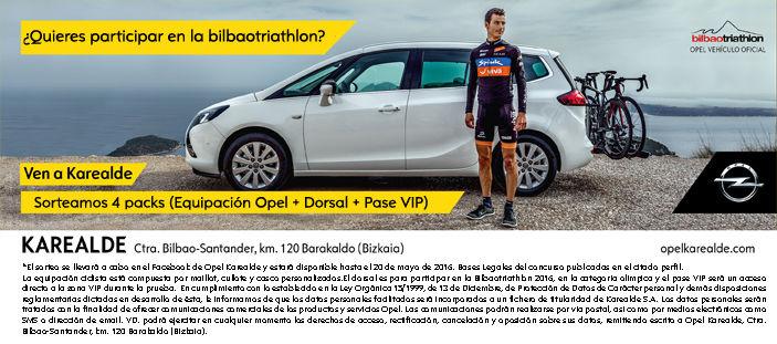 Opel Karealde con el exclusivo sistema FlexFix de Opel estará en la Bilbao Triathlon el 28 de Mayo