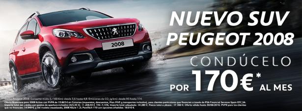 CONDUCE EL NUEVO SUV PEUGEOT 2008 POR 170 €/mes*