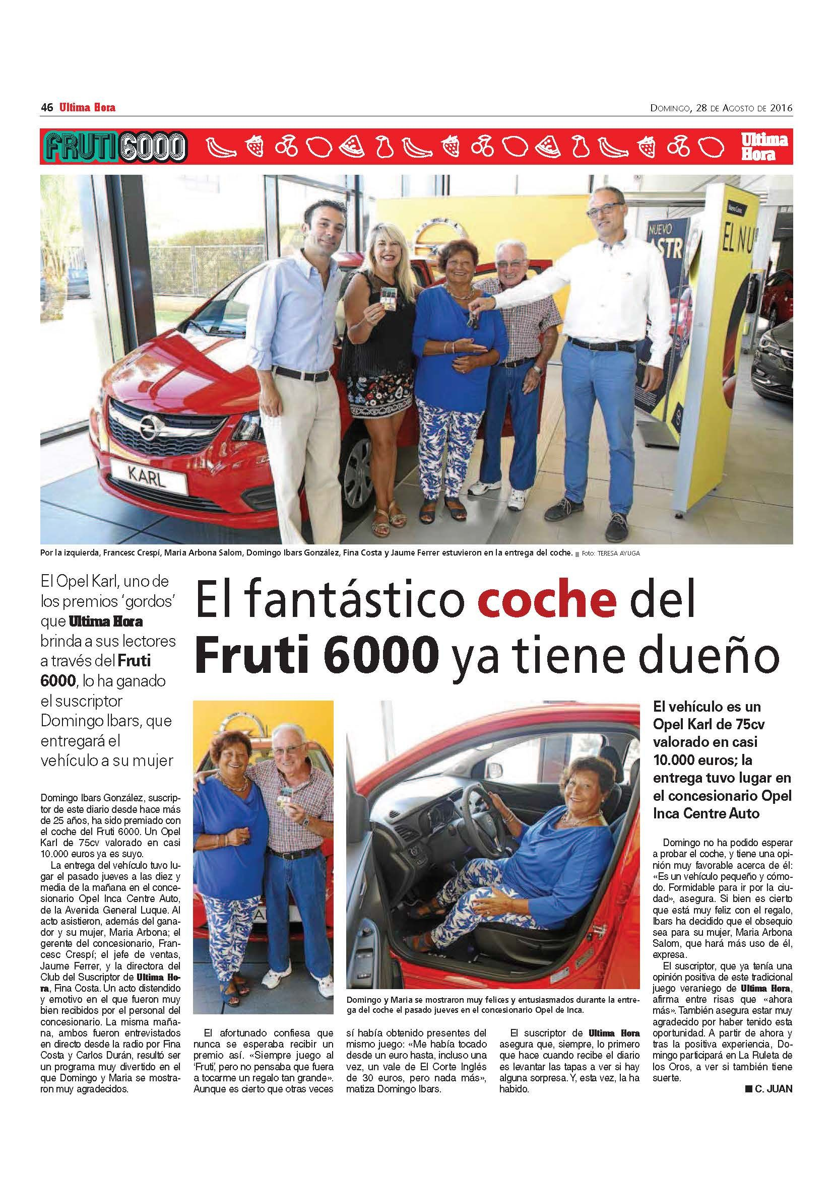 OPEL Inca Centro Auto hace entrega del Opel Karl en el Fruti 6000 de Ultima Hora