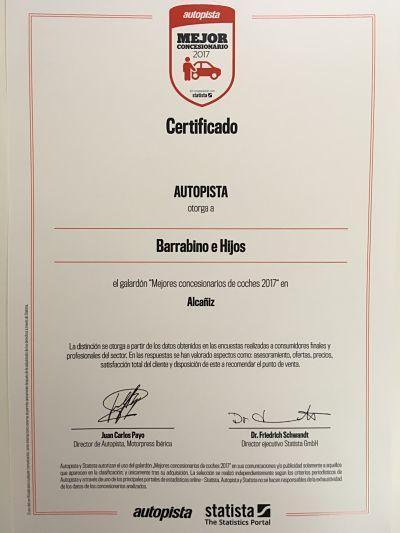 C.O CITROËN BARRABINO E HIJOS S.L Entre los 50 Concesionarios más valorados en España por satisfacción y calidad de Servicio.