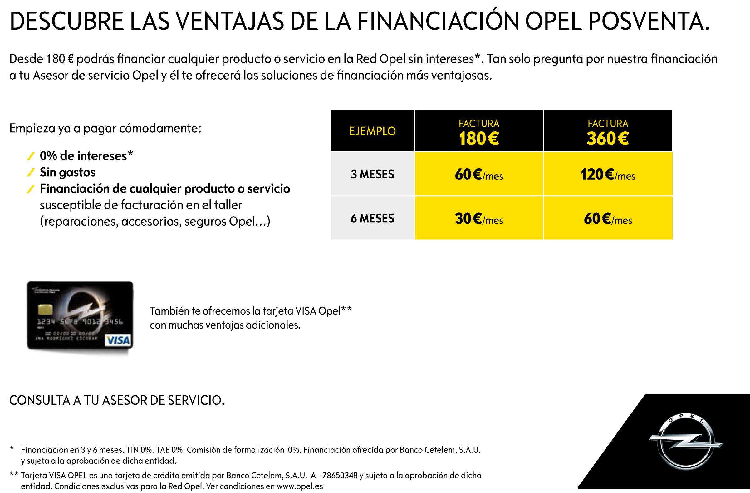 FINANCIA SIN INTERESES LA REPARACION DE TU OPEL