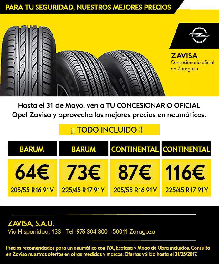 Los mejores precios en neumáticos para tu Opel los encontrarás en Zavisa hasta el 31 de mayo