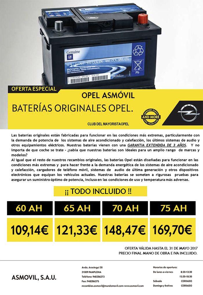 Batería original de Opel con TODO INCLUIDO