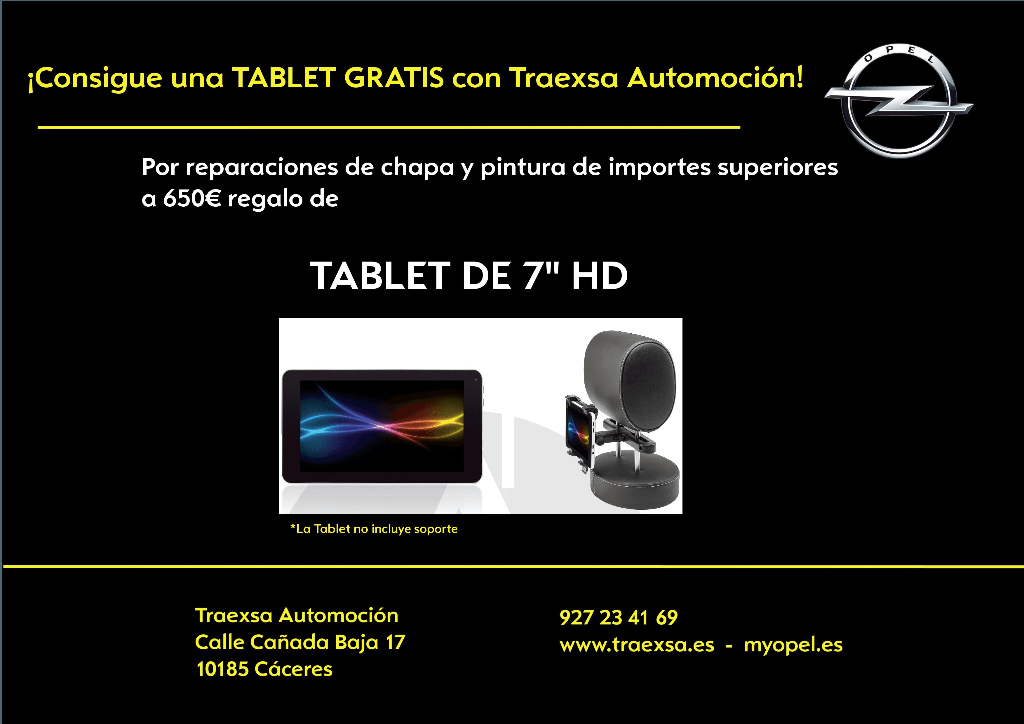 """REGALO Tablet 7""""HD por tus reparaciones de chapa y pintura en TRAEXSA AUTOMOCIÓN"""