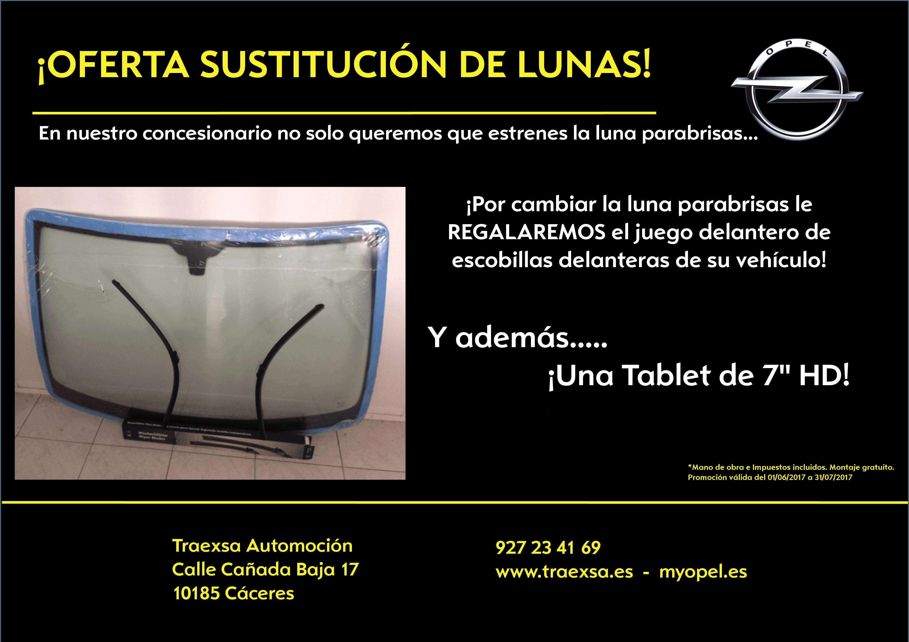 """REGALO Tablet 7""""HD por la sustitución de su luna parabrisas en TRAEXSA AUTOMOCIÓN"""