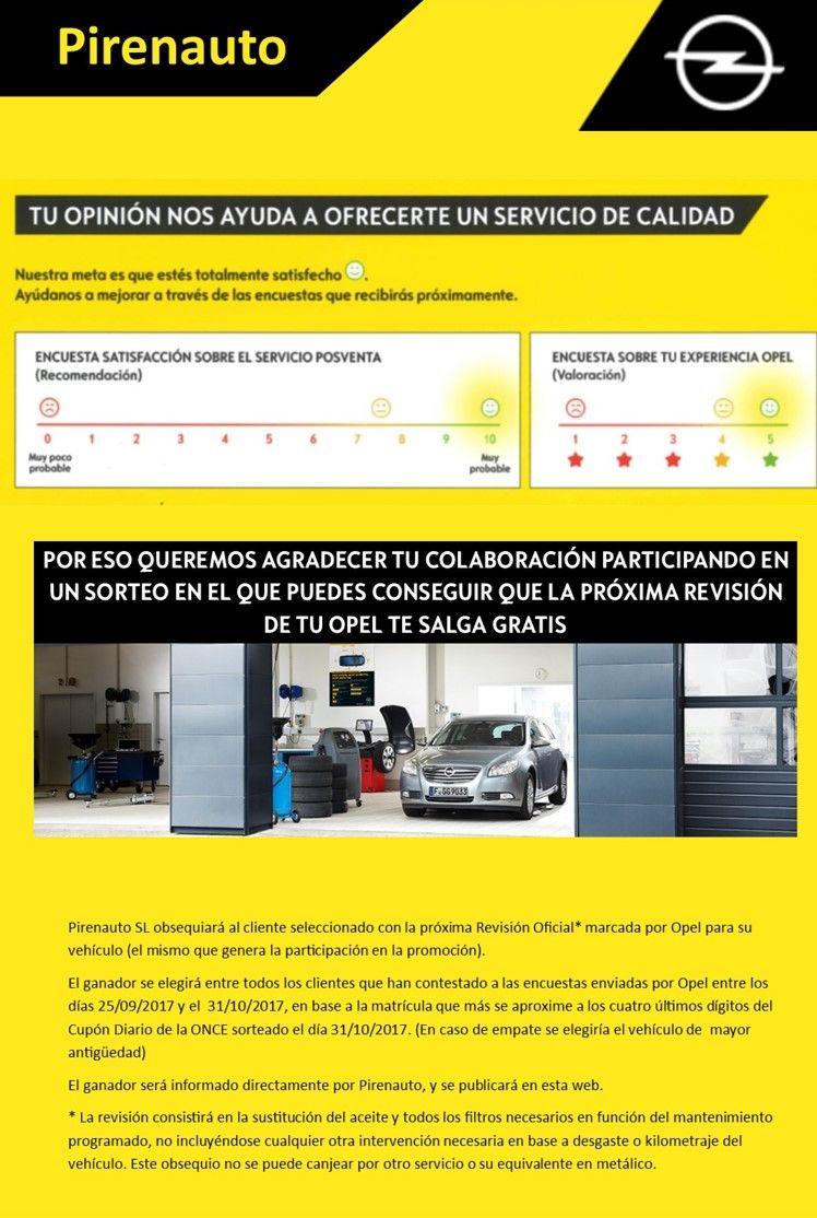 Consigue la revision de tu Opel Gratis en Pirenauto